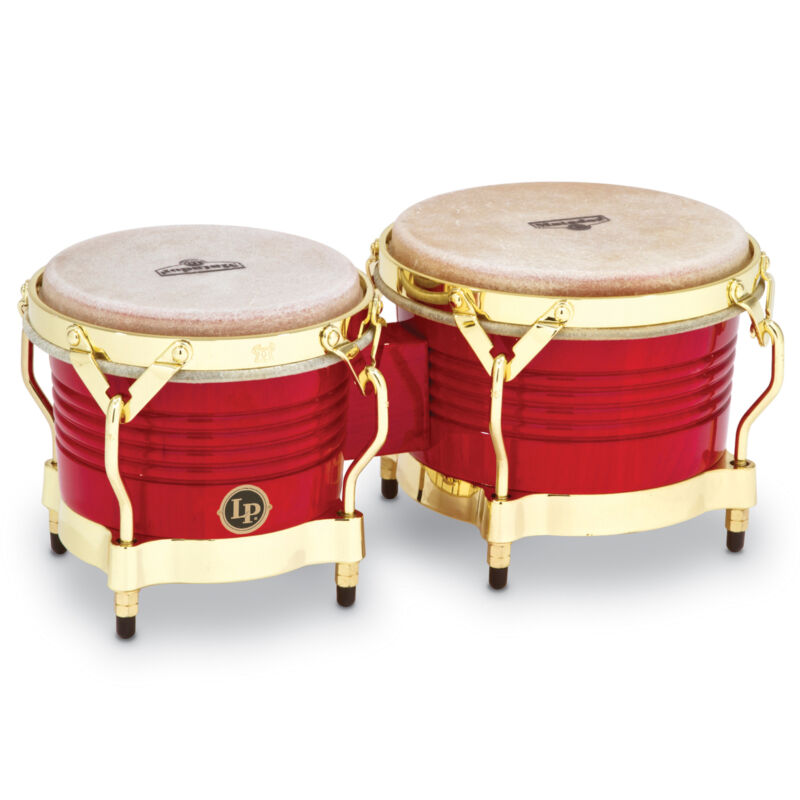 Latin Percussion LP Matador Wood Bongos Red Gold Hardware