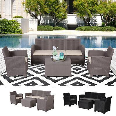 Garden Furniture - Garden 4 PCS PP Rattan Wicker Cushioned Furniture Sectional Sofa Patio Set