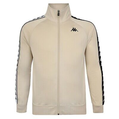 New Men's Kappa Logo Tracksuit Track Jacket Sweater Coat Top - Beige