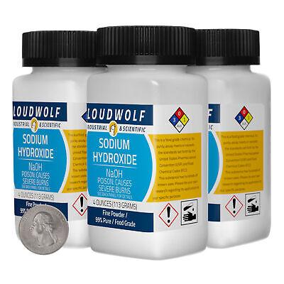 Sodium Hydroxide 1 Pound 4 Bottles 99 Pure Food Grade Fine Powder Usa