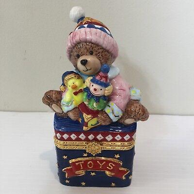 Bear Keepsake Box (Traditions Porcelain Hinged Keepsake Decorative Box Christmas Teddy Bear)