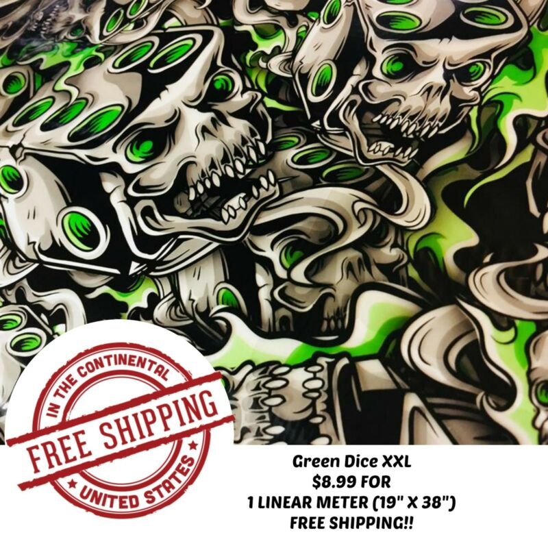 Hydrographic Film Water Transfer Hydro Dip 1 Linear Meter Green Dice XXL Skull