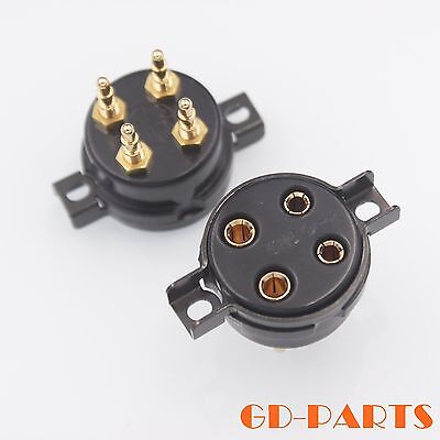 Electronic Components & Supplies Free Shipping 300b 2a3 For Large Four-leg Flat Gold-plated Tube Socket