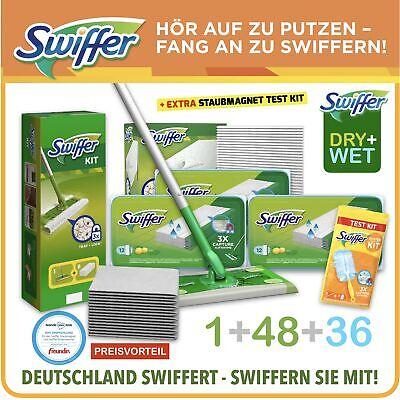 Swiffer Set Bodenwischer +48 Trockene Tücher +36 Feuchte Wischtücher + Testkit