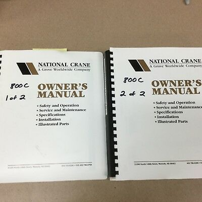 National 800c 880c 869c Truck Crane Service Manual Parts Book Operation Maint.