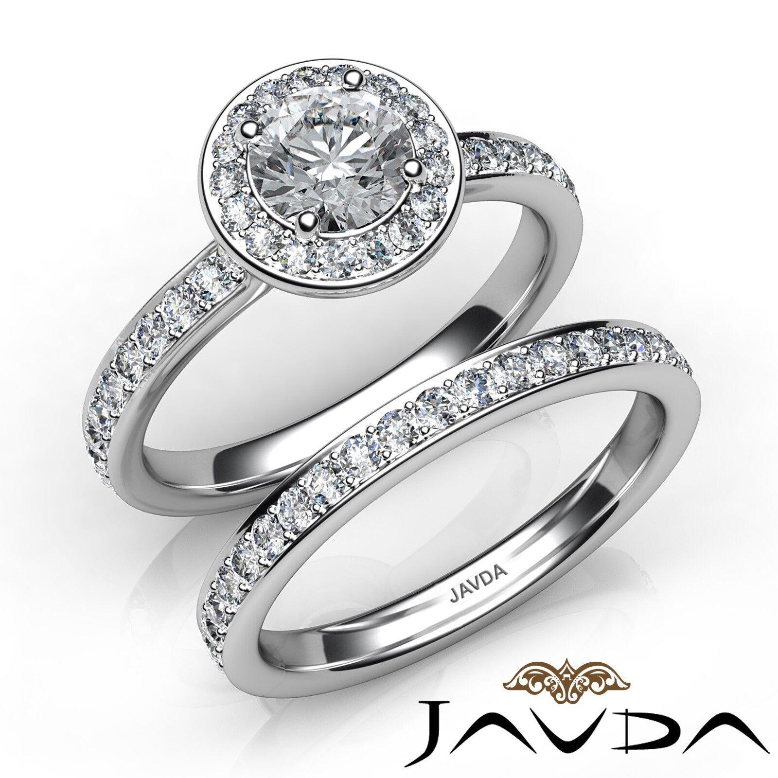 1.35ctw Halo Pave Wedding Round Diamond Engagement Ring GIA E-VVS2 White Gold