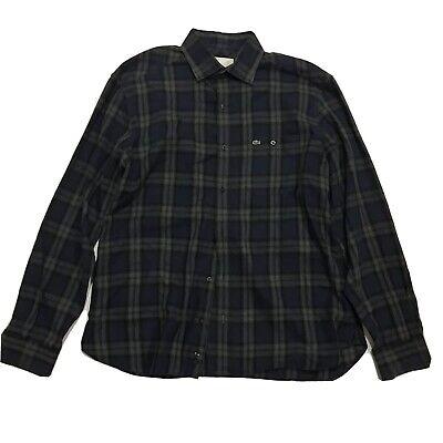 Lacoste Slim Fit Plaid Mens Button Front Long Sleeve Shirt Size 42