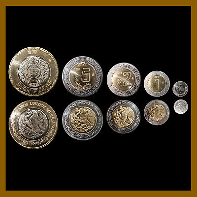 Mexico 50 Centavos 1 2 5 10 Pesos  5 Pcs Coin Set   2018 Unc Mint