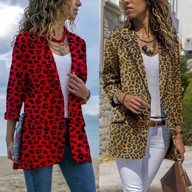 Damen Langarm Leopard Mantel Cardigan Business Jacke Blazer Leo Anzugjack Tops