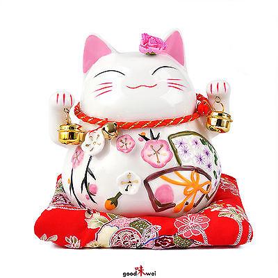 Weiße Maneki-neko mit zwei Glocken, klein - Glückskatze aus Porzellan