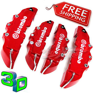 3D-RED-BREMBO-Style-Brake-Caliper-Covers-4-Pieces-Front-Rear-UNIVERSAL-Set