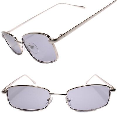 Classic Vintage Retro Indie Hipster 80s Rectangle Sunglasses Silver Frame