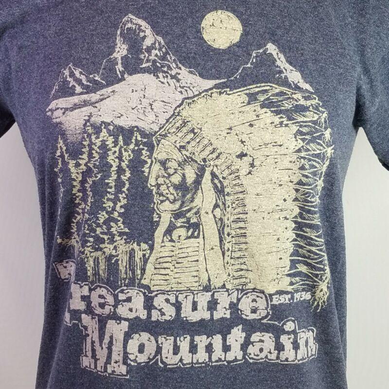 Treasure Mountain Ringer TShirt Native American Colorado Vtg BSA Camp Mens Small