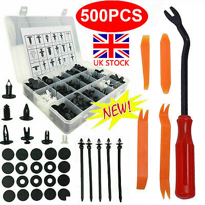 500Pcs Car Body Plastic Push Pin Rivet Fasteners Trim Moulding Clip Screwdriver