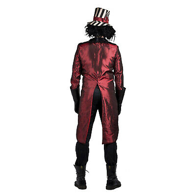 Madhouse Psycho Insane Ring Master Creepy Halloween Costume Jacket Gloves Hat (Insane Halloween Costume)
