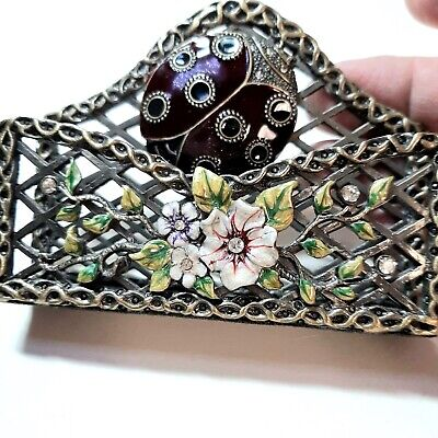 Vtg Guilloche Enamel Card Holder With Flowers And Tiny Jewels Excellent