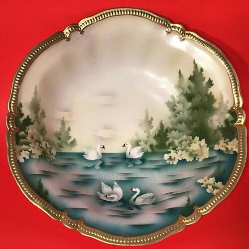 "R. S. PRUSSIA CABINET BOWL SWANS HAND PAINTED ANTIQUE 10 1/2"" THICK BEADED GOLD"