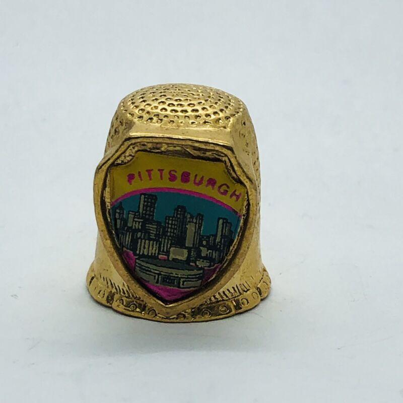 Pittsburgh Pennsylvania Souvenir Gold Tone Metal Thimble w/ City Skyline by Fort