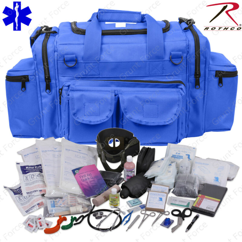 Deluxe Blue EMT/EMS Medic Bag With Supplies - Rothco EMT Medical Trauma Kit