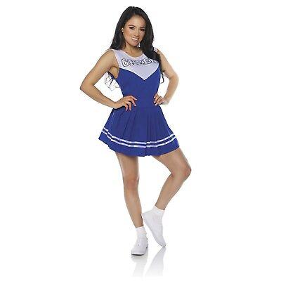 Womens Cheerleader Costume Blue High School Sport Football Cosplay Halloween - Football Female Halloween Costume