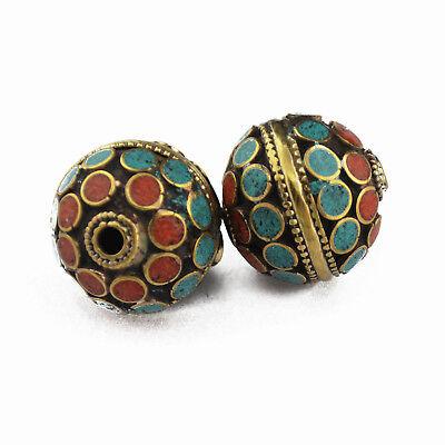 Turquoise Coral Brass 2 Beads Tibetan Nepalese Handmade Tibet Nepal UB2561