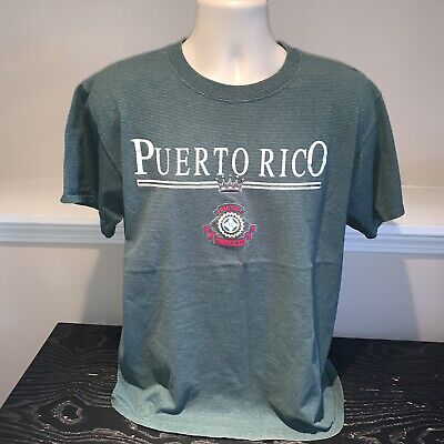 VTG Puerto Rico T Shirt 1990s Sherry's Best Ribbed Striped Green Tee Mens (Best Striped T Shirt)