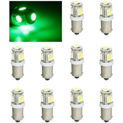 (10) Green 5-LED Dash Instrument Panel Cluster Gauge Clock Glove Box Light Bulbs