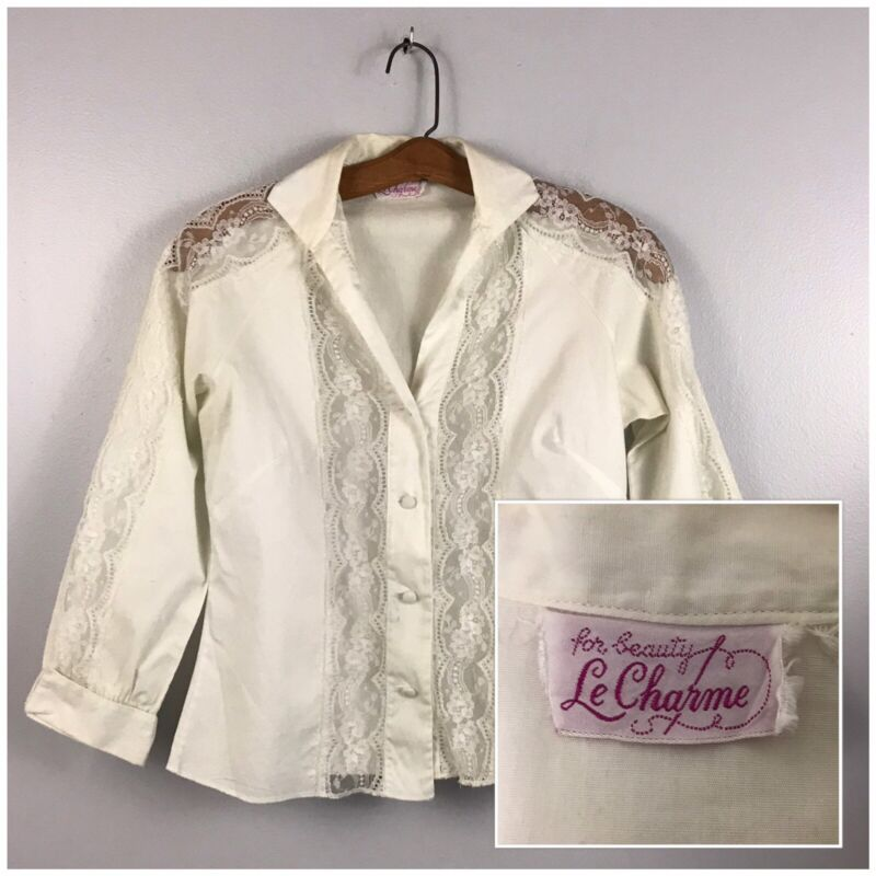 1950s Blouse / 50s White Lace Panel Button Up Shirt Top Rockabilly / Small