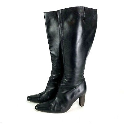 J Crew 56790 Knee High Boots Black Leather Made In Italy Womens Size 8