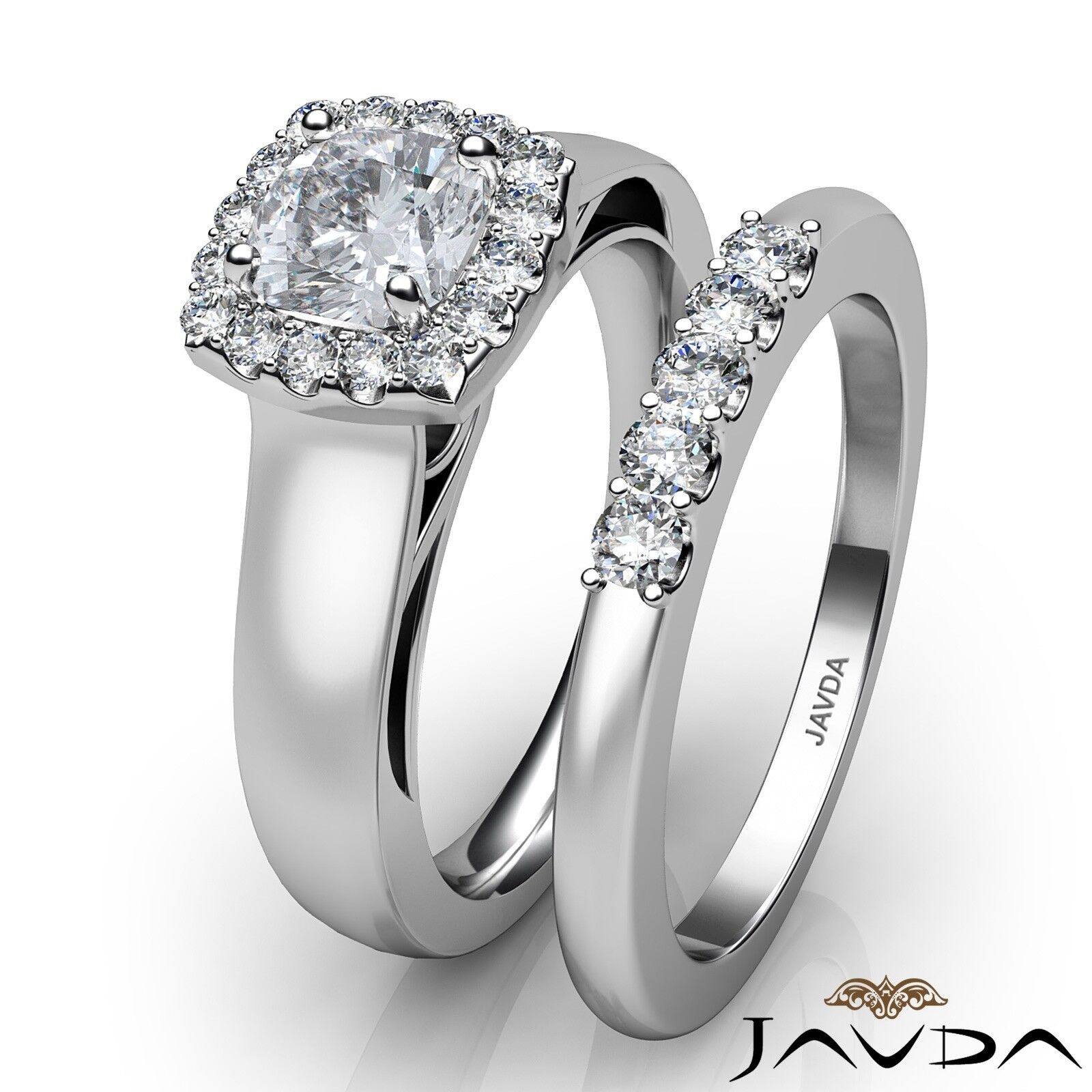 1.04ctw Solitaire Halo Bridal Cushion Diamond Engagement Ring GIA H-VS2 W Gold 3