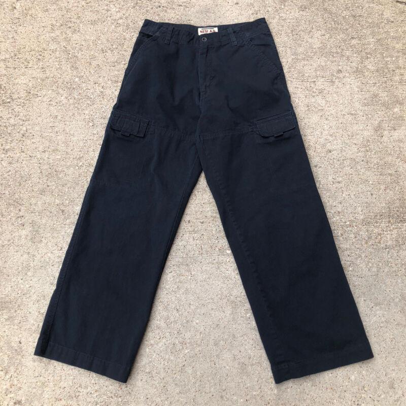 Vtg Nesi AG Baggy Cargo Pants / Youth Size 18 / W: 29 I: 28 / Black / Skate