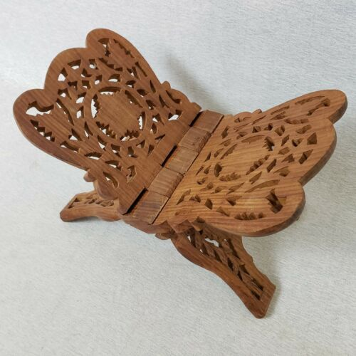 Vintage Teak Wood Book Holder Folding Bible Cookbook Stand Hand Carved In India
