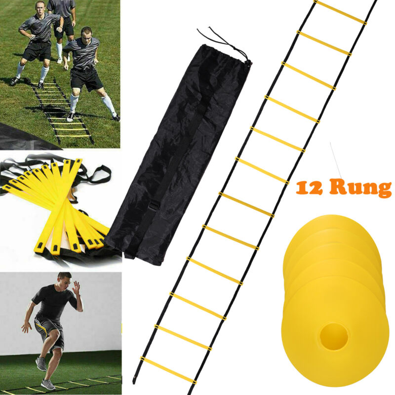 Speed Agility Ladder Training Equipment Footwork Fitness-12 Rung+10 Sports Cones