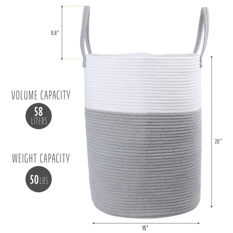58L Large Woven Laundry Hamper Cotton Rope Storage Bin Basket For Nursery Hamper