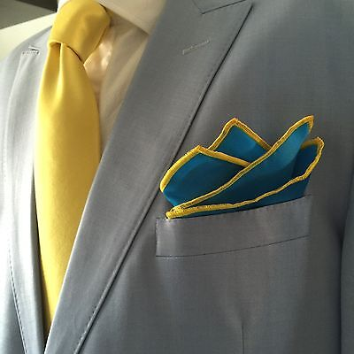 Pocket Square Hand Made Blue And Yellow Stitched Borders By Squaretrapny.com