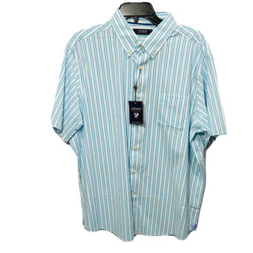 Cremieux Mens S/S Performance Shirt Button Down XL Blue Stretch Lightweight Cool Casual Button-Down Shirts