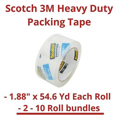 Scotch 3m Clear Heavy Duty Shipping Packing Tape 1.88 X 54.6 Yd - 23810 Pack