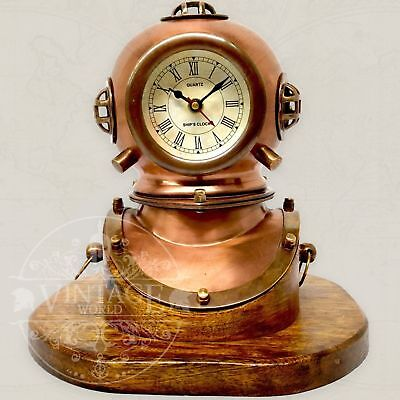 Table Clock – Divers Helmet Brass Copper Diving Bell Helmet with Working Clock