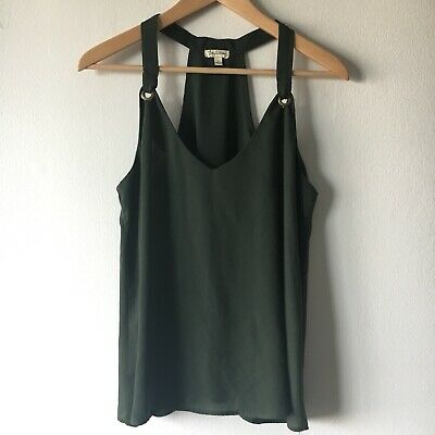 Women's Lily White Army Green Racerback Draped Swing Tank Top Blouse Size L Army Womens White Tank Top