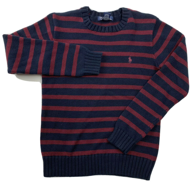 Polo Ralph Lauren Boys Youth Crew Sweater (12/14) Dark Red Navy Blue Striped EUC