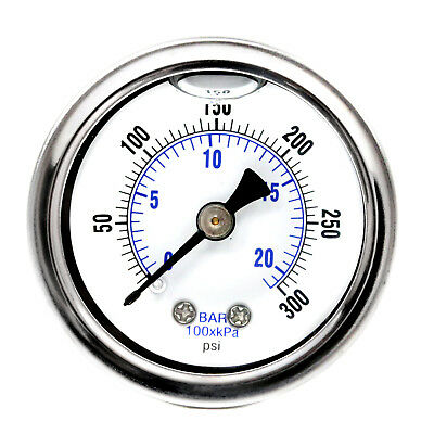 1.5 Liquid Filled Pressure Gauge 300 Psi Air Compressor Center Back Mount 18