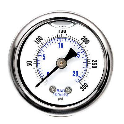 1.5 Liquid Filled Pressure Gauge 300 Psi Air Compressor Center Back Mount 18