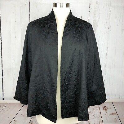 Eileen Fisher Womens Blazer Sz L 100% Silk Embroidered Kimono Open Cardigan Gray