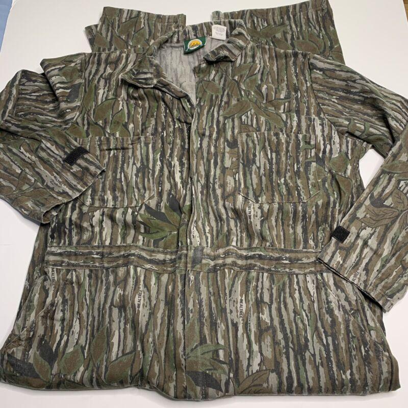 Vintahe 80s Cabelas Tree Bark Camo Coveralls Workwear Hunting Size XL