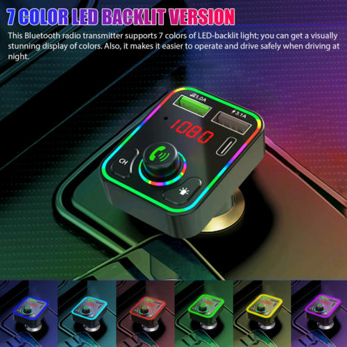 Bluetooth 5.0 Car Wireless FM Transmitter Adapter PD Charger 2USB Hands-Free AUX Consumer Electronics