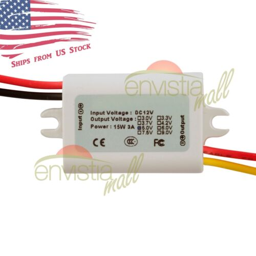12V To 5V 3A 15W DC-DC Step Down Converter DC Power Supply Module Waterproof US