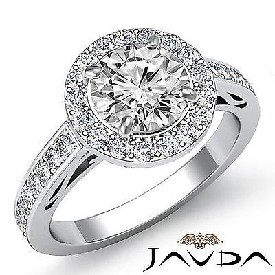 Round Cut Diamond Engagement Halo Pave Set Ring GIA I VS2 18k White Gold 2.8ct