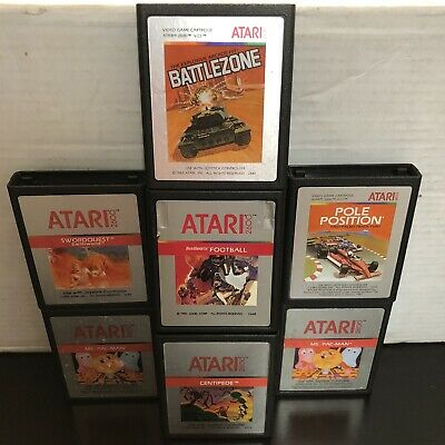 Lot Of 7 Silver Label Atari 2600 Games Swordquest Ms. Pacman Centipede And More