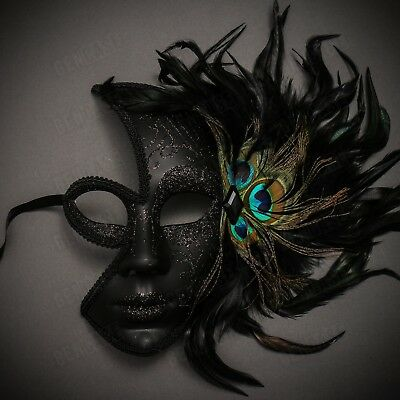Black Venetian Peacock Feather Mask Women Masquerade Half Face Party Eye - Peacock Masquerade Mask