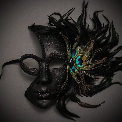 Black Venetian Peacock Feather Mask Women Masquerade Half Face Party Eye Mask - Black Masquerade Masks